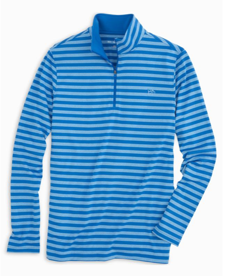 Southern Tide Striped Performance 1/4 Zip Pullover - Cobalt Blue