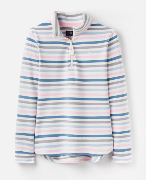 Joules Fairdale Funnel Neck Sweatshirt - Blue and Pink Stripe