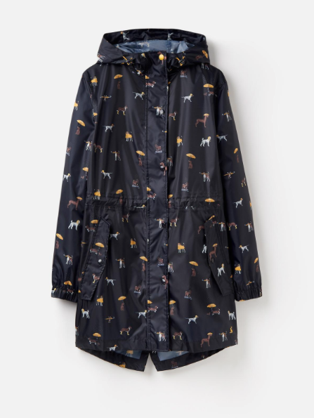 Joules Golightly Waterproof Jacket - Raining Dogs