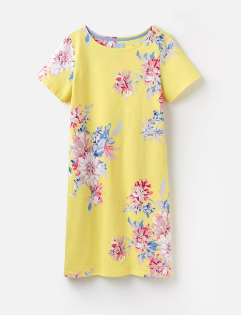 Joules Riviera Printed Jersey Dress - Lemon Whitstable Floral