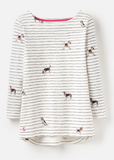 Joules Harbour Print Top - Cream Stripe Dogs