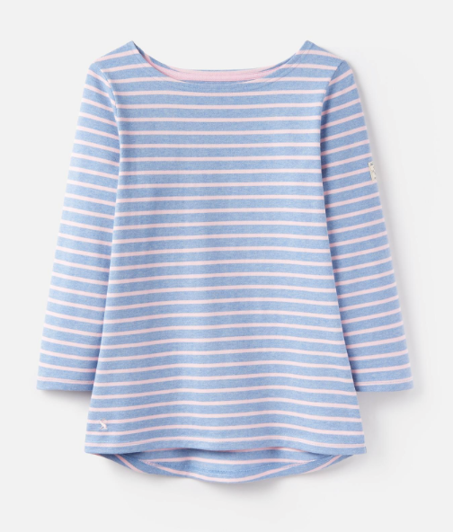 Joules Harbour Jersey Top - Chambray Pink Stripe