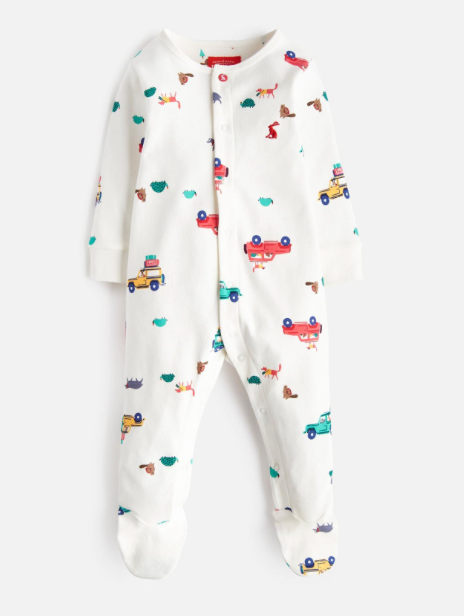 Joules Ziggy Printed Babygrow - Cream Scout and About