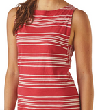 Patagonia Women's Amber Dawn Tank Dress - Lightning Stripe Static Red