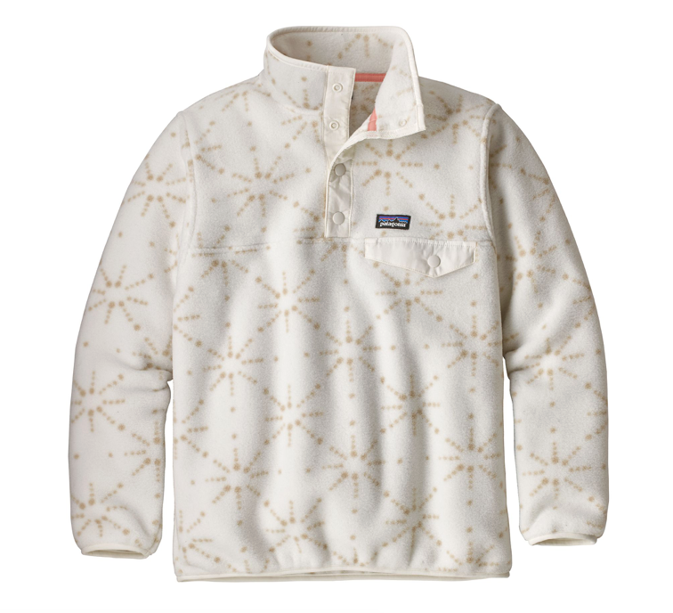 Patagonia Girls' Lightweight Synchilla® Snap-T® Fleece Pullover - Solar Pow Big Birch White
