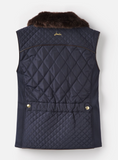 Joules Inverness Quilted Vest with Faux Fur Collar - Marine Navy