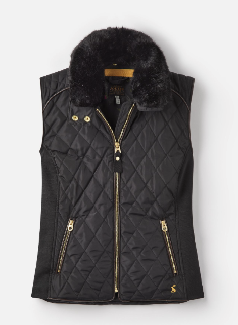 Joules Inverness Quilted Vest with Faux Fur Collar - Black