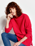 Joules Fallon Warm Cable Sweater - Raspberry