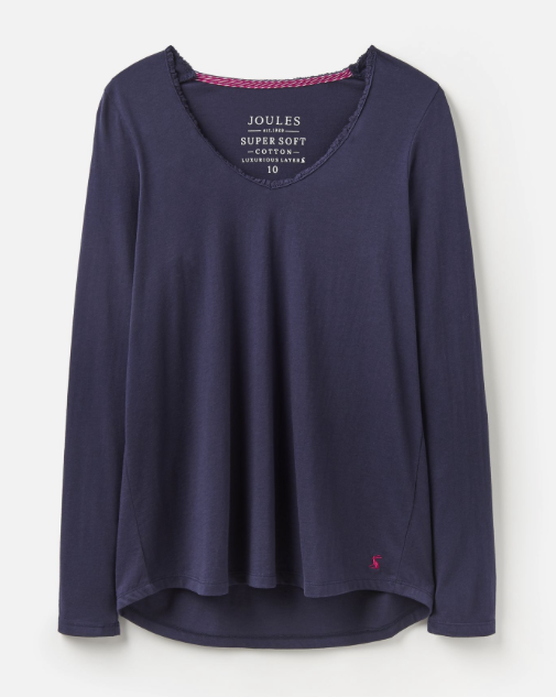 Joules Luna Lace Trim Top - French Navy