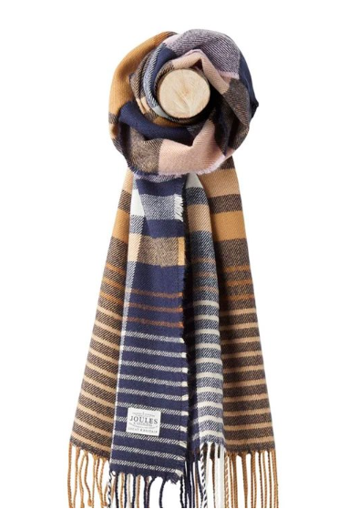 Joules Bracken Woven Checked Scarf - Camel Check