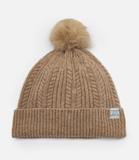 Joules Bobble Cable Knit Hat - Oatmeal