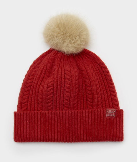 Joules Bobble Cable Knit Hat - Red