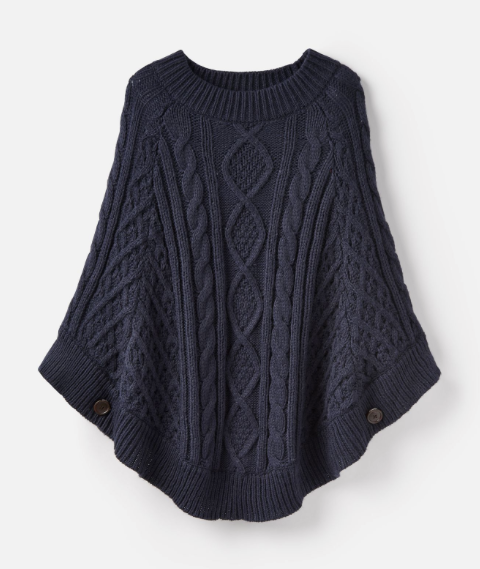 Joules Claudie Chunky Cable Poncho - French Navy