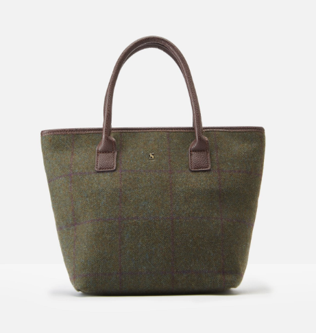 Joules Carey Tweed Grab Bag - Green Check