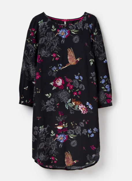 Joules Lyris Full Sleeve Dress - Black Woodland Floral