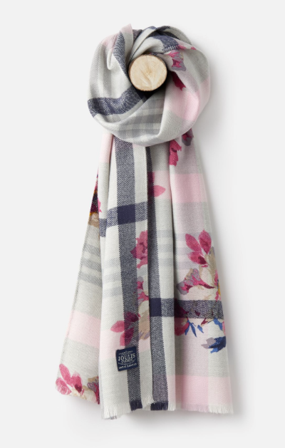 Joules Bracken Printed Woven Scarf - Grey Marl Check