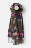 Joules Bracken Woven Checked Scarf - Green Check