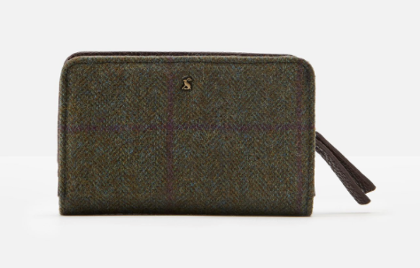 Joules Wyton Tweed Wallet - Green Check