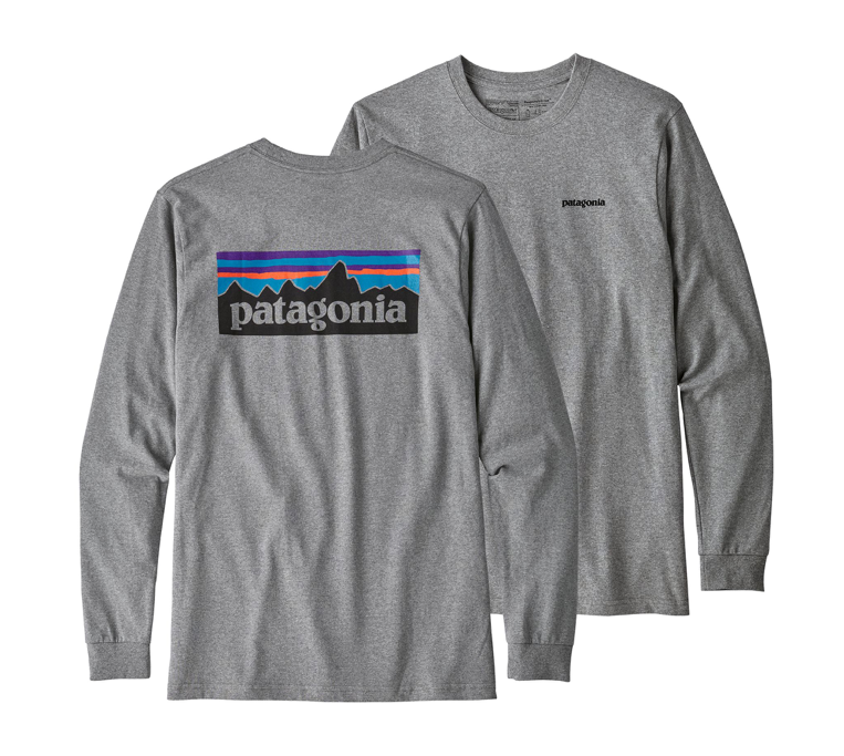 Patagonia Men's Long-Sleeved P-6 Logo Responsibili-Tee® - Gravel Heather