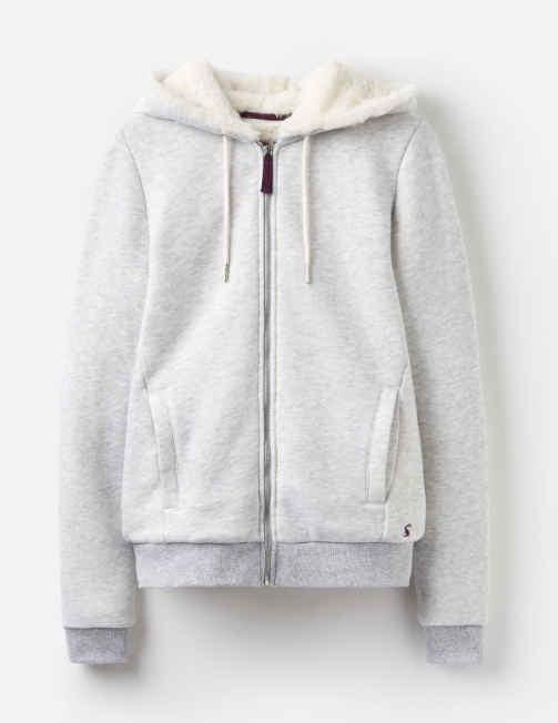 Joules Rowan Fully Faux Fur Lined Full Zip Hoodie - Light Grey Marl