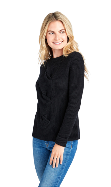 Vineyard Vines Cable Front Sweater - Jet Black