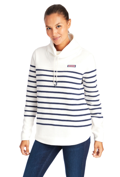 Vineyard Vines Striped Relaxed Funnel Neck Sweater Fleece Shep Shirt - Marshmallow