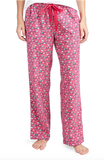 Vineyard Vines Multi Icon Flannel Lounge Pants - Goji Berry