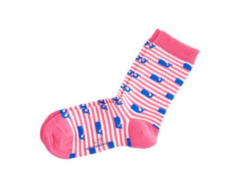 Vineyard Vines Womens Whales & Stripes Socks - Conch