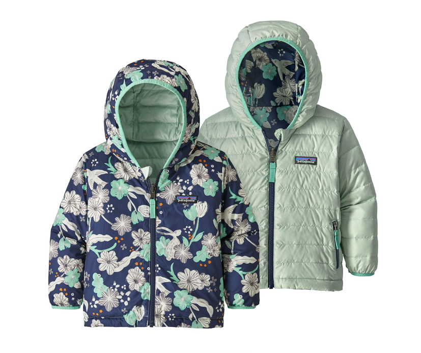 Patagonia Baby Reversible Down Sweater Hoody - Bunnies and Birds Classic Navy