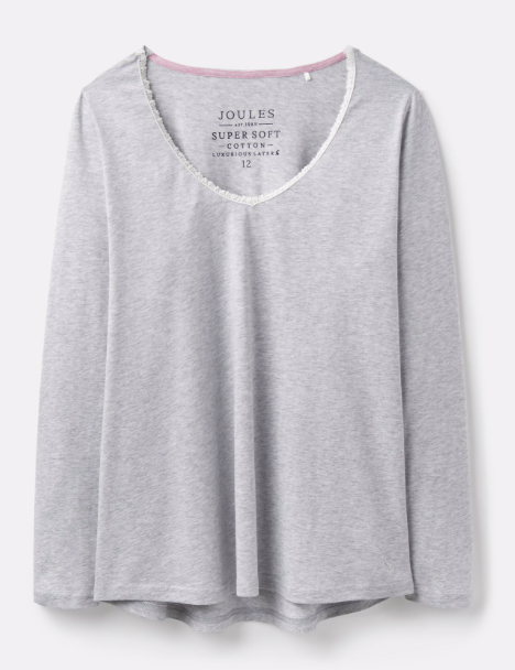 Joules Luna Lace Trim Top - Grey Marl