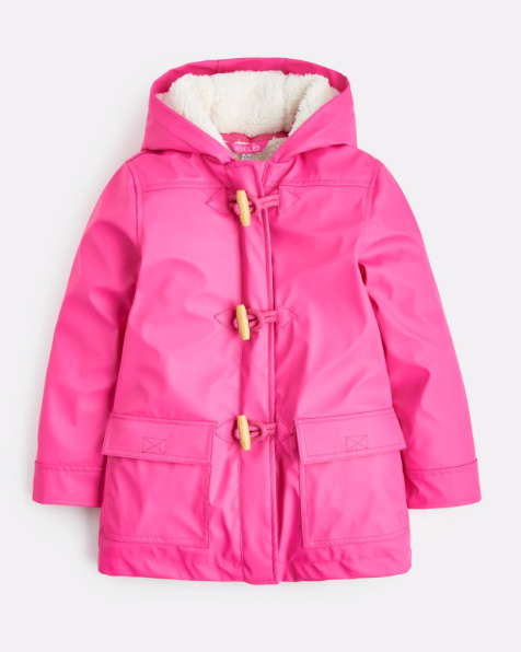 Joules Duffle Waterproof rubber Coat - True Pink
