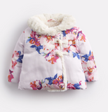 Joules Fleecy Wrap Over Padded Jacket - Pink Marl Granny Floral