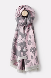 Joules Jacquelyn Jaquard Scarf - Pink Etched Botanical