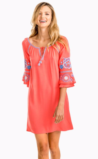 Southern Tide Natalie Embroidered Boho Dress - Coral Beach