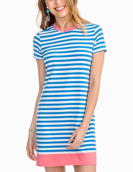 Southern Tide Amelia Striped Active Dress - Charting Blue