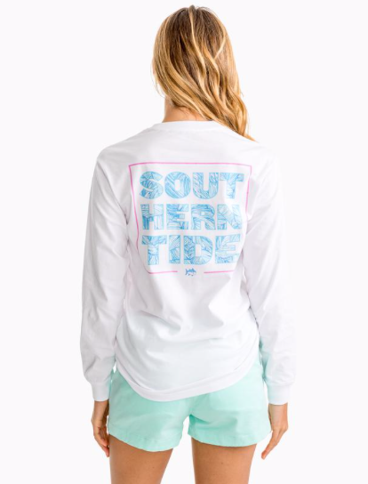 Southern Tide Women's Palm Print Long Sleeve Graphic T-Shirt - Classic White