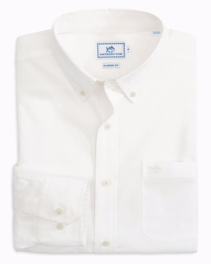 Southern Tide Sullivans Solid Sport Shirt - Classic White