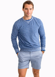 Southern Tide Heathered Ocean Course Crew Pullover - Dark Denim