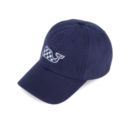 Vineyard Vines Gingham Whale Fill Baseball Hat - Deep Bay