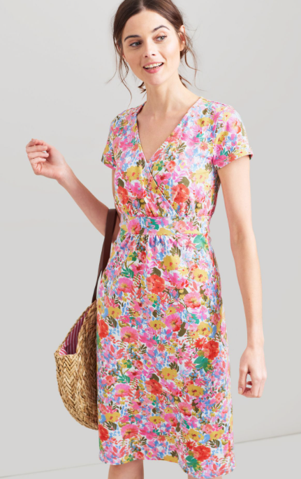 Joules Jude Jersey Wrap Dress - White Floral Meadow