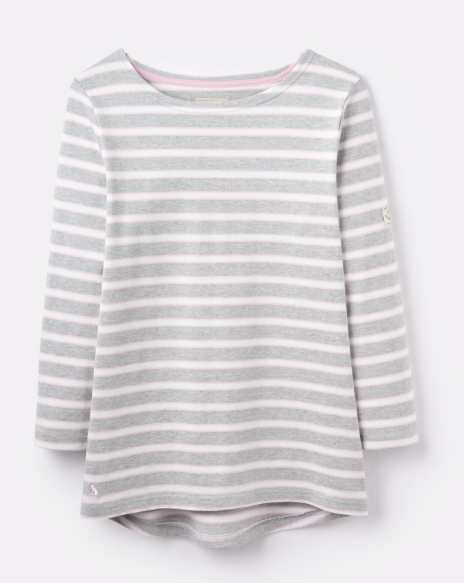 Joules Harbour Jersey Top - Grey Cream Pink Stripe