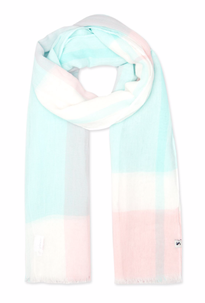 Joules Talia Lightweight Cotton Scarf - Light Pink Check