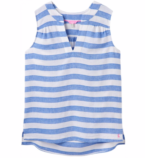 Joules Juliette Sleeveless V-Neck Top - Blue Cream Stripe