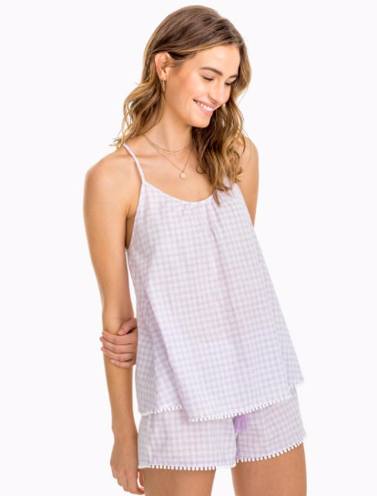 Southern Tide Heathered Gingham Sleep Tank - Purple Sky