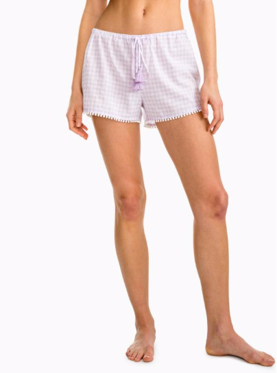 Southern Tide Heathered Gingham Sleep Short - Purple Sky