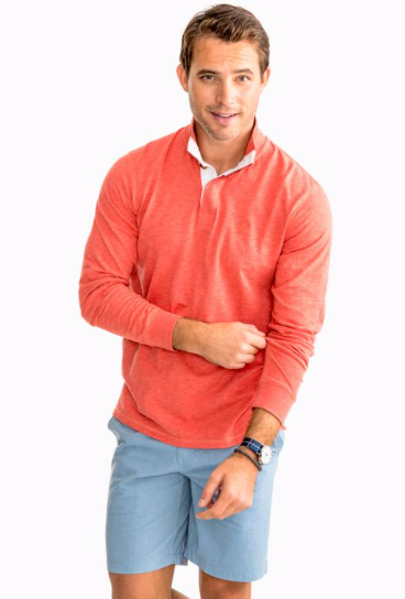 Southern Tide Heathered Gulf Stream Lightweight Pullover - Sea Coral