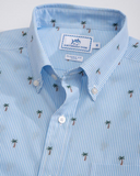 Southern Tide Palm Tree Short Sleeve Button Down Shirt - Ocean Channel