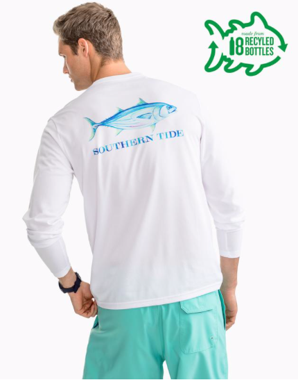 Southern Tide Watercolor Skipjack Long Sleeve Performance T-Shirt - Classic White