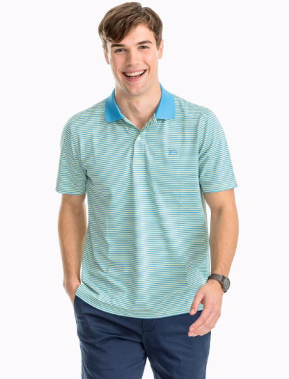 Southern Tide Fort Frederik Striped Performance Pique Polo Shirt - Blonde