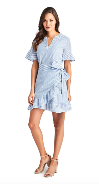Vineyard Vines Seersucker Wrap Dress - Ocean Reef